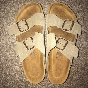 Women's Birkenstock Soft Footbed Taupe Sandals